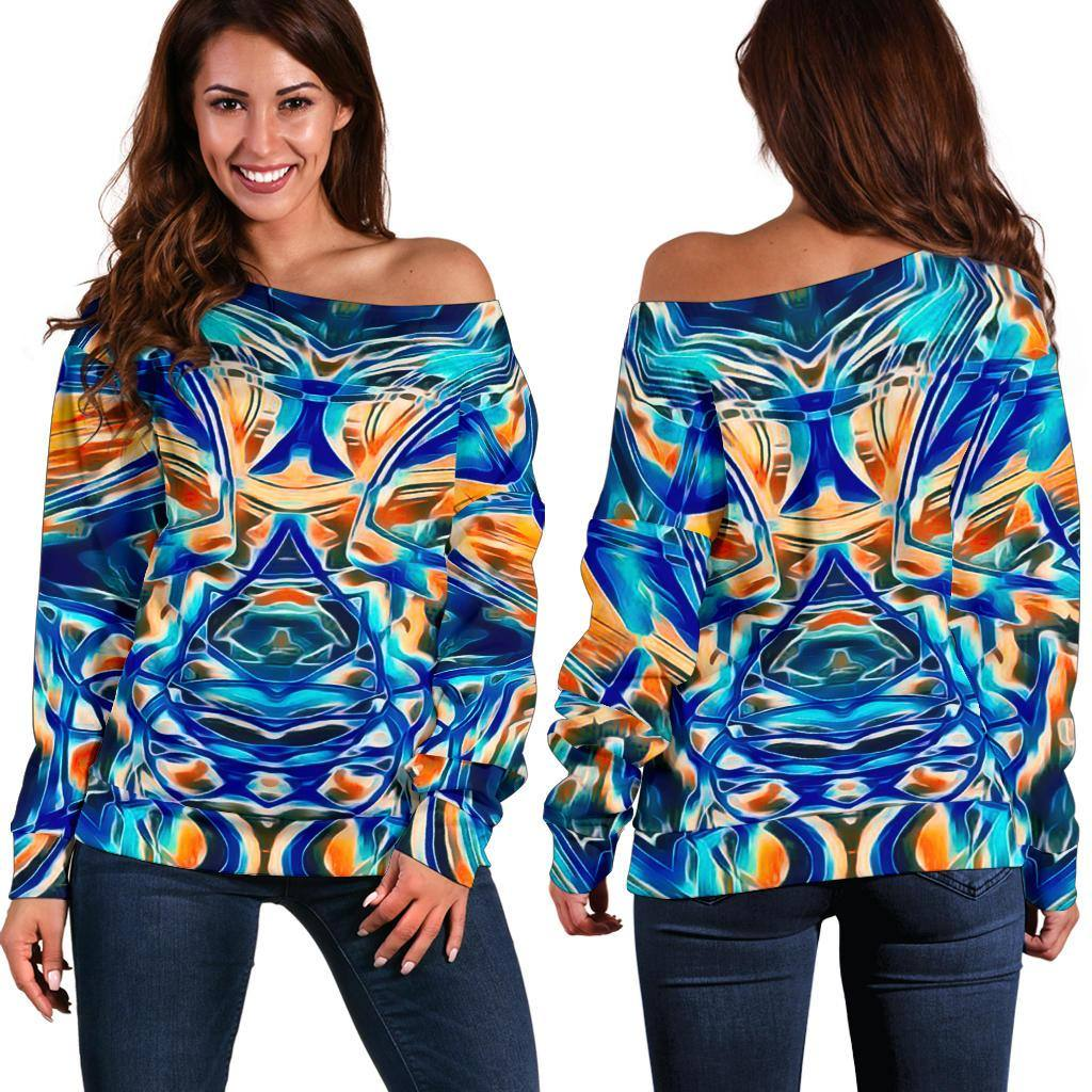 BLUE GAZE Women's Off Shoulder Sweater