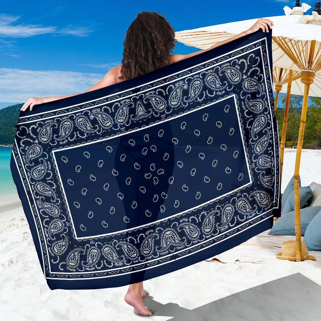 Dark Navy Bandana Chiffon Beach Cover Up | Sarong | Pareo