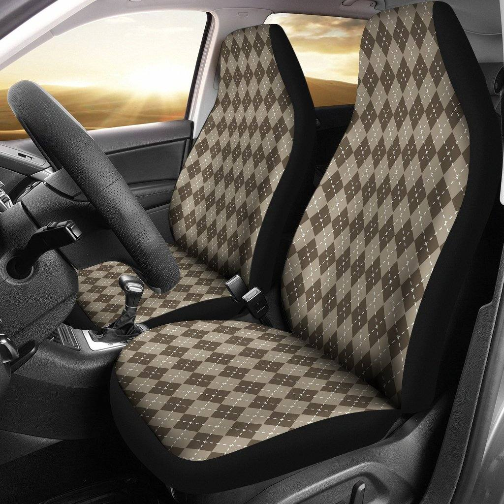 Chocolate Argyle Car Seat Covers