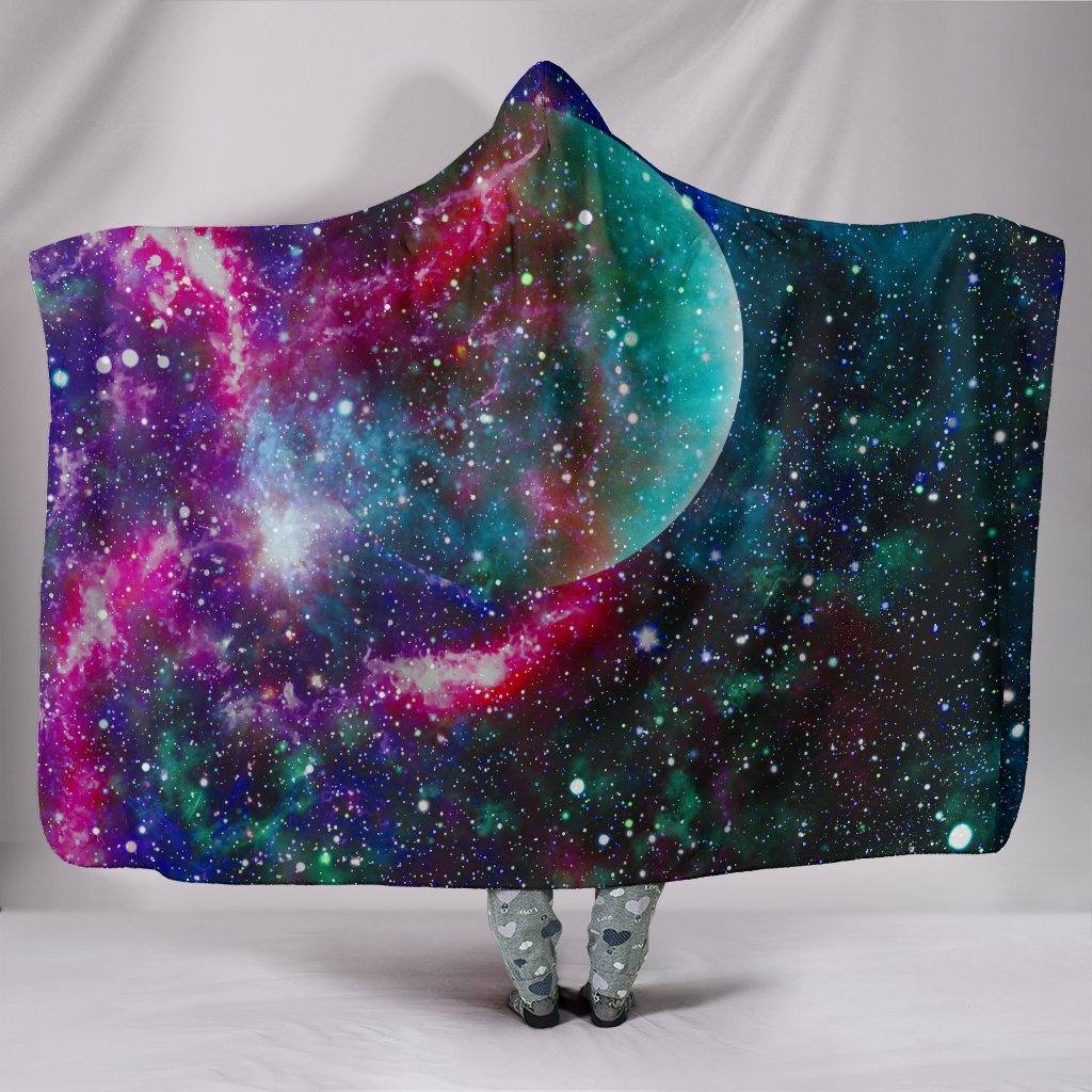 Galaxy Planet Hooded Blanket