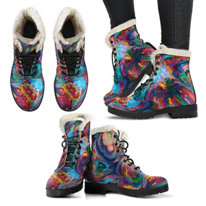 Abstract Paintings Vegan Leather Boots with Faux Fur Lining