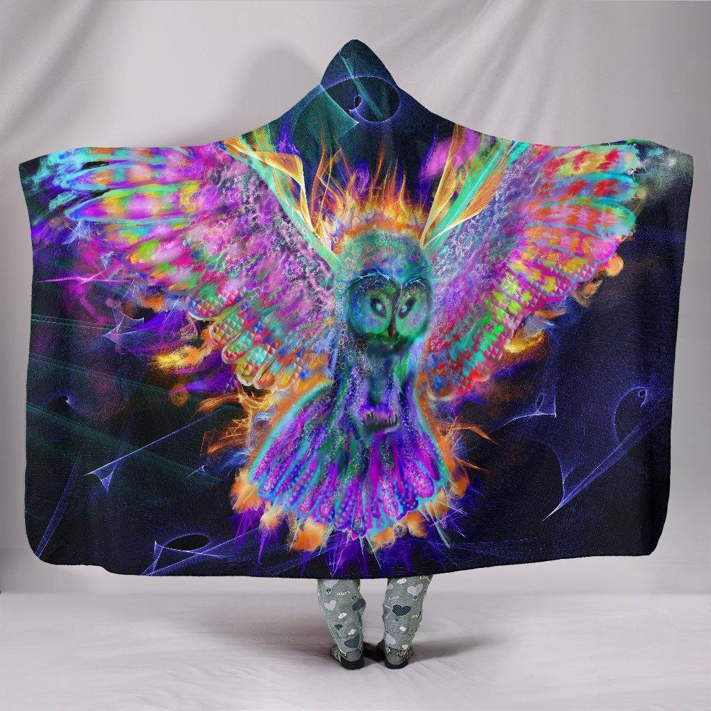 Electric Owl Hooded Blanket