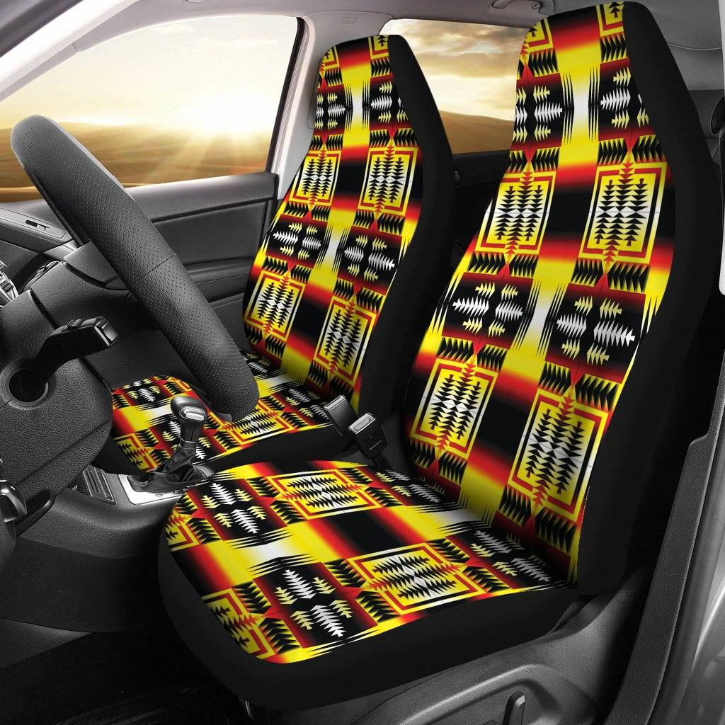 Medicine Wheel Blanket Strips Car Seat Covers | Set of 2