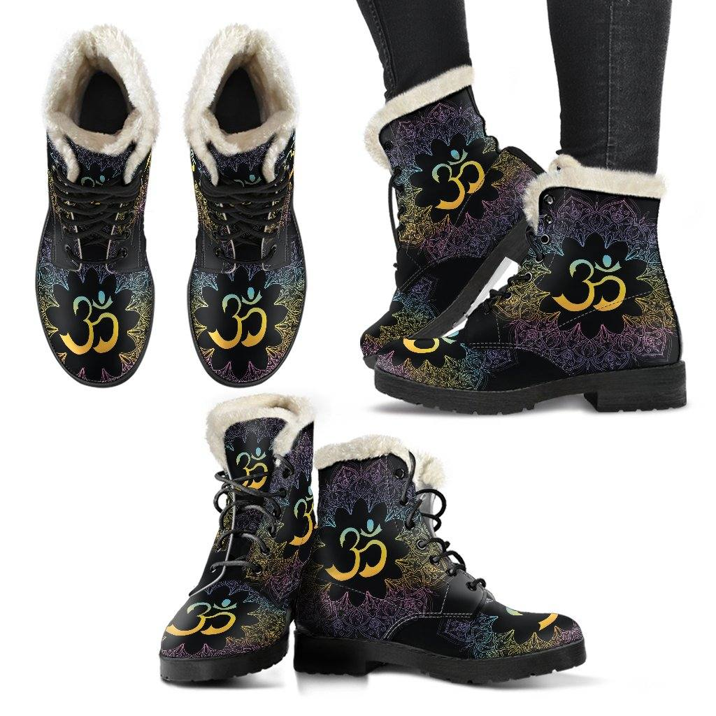 Ohm Mandala Vegan Leather Boots with Faux Fur Lining