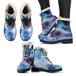 Moon To Moon Vegan Leather Boots with Faux Fur Lining