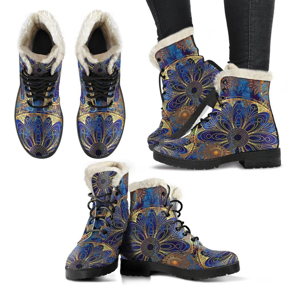 Blue And Gold Bohemian VEGAN LEATHER BOOTS with FAUX FUR LINING - Manifestie