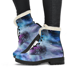 Light Galaxy Vegan Leather Boots with Faux Fur Lining
