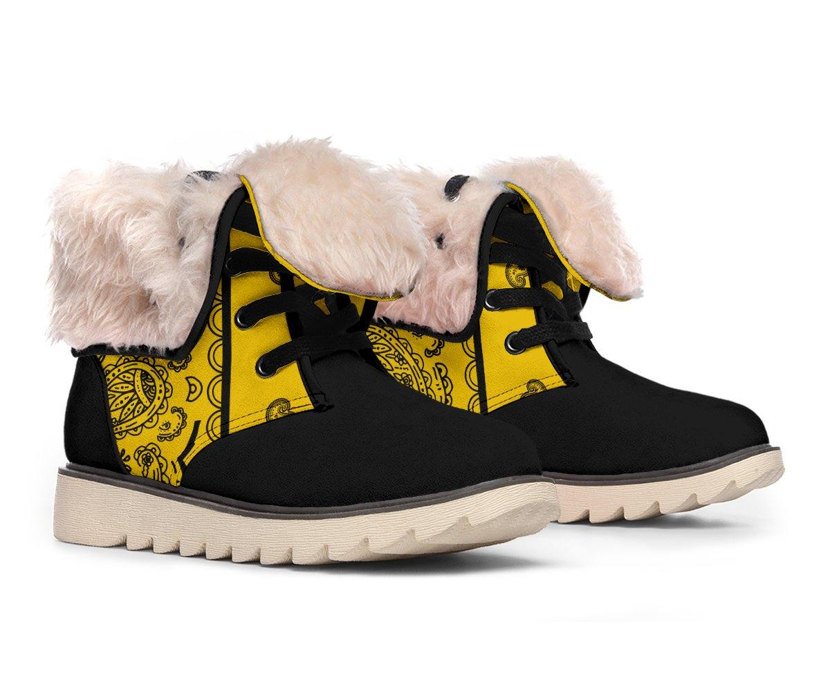Gold and Black Bandana Women's Polar Boots - Manifestie