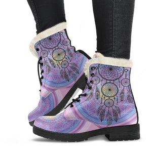 Chakra Dreamcatcher Vegan Leather Boots with Faux Fur Lining
