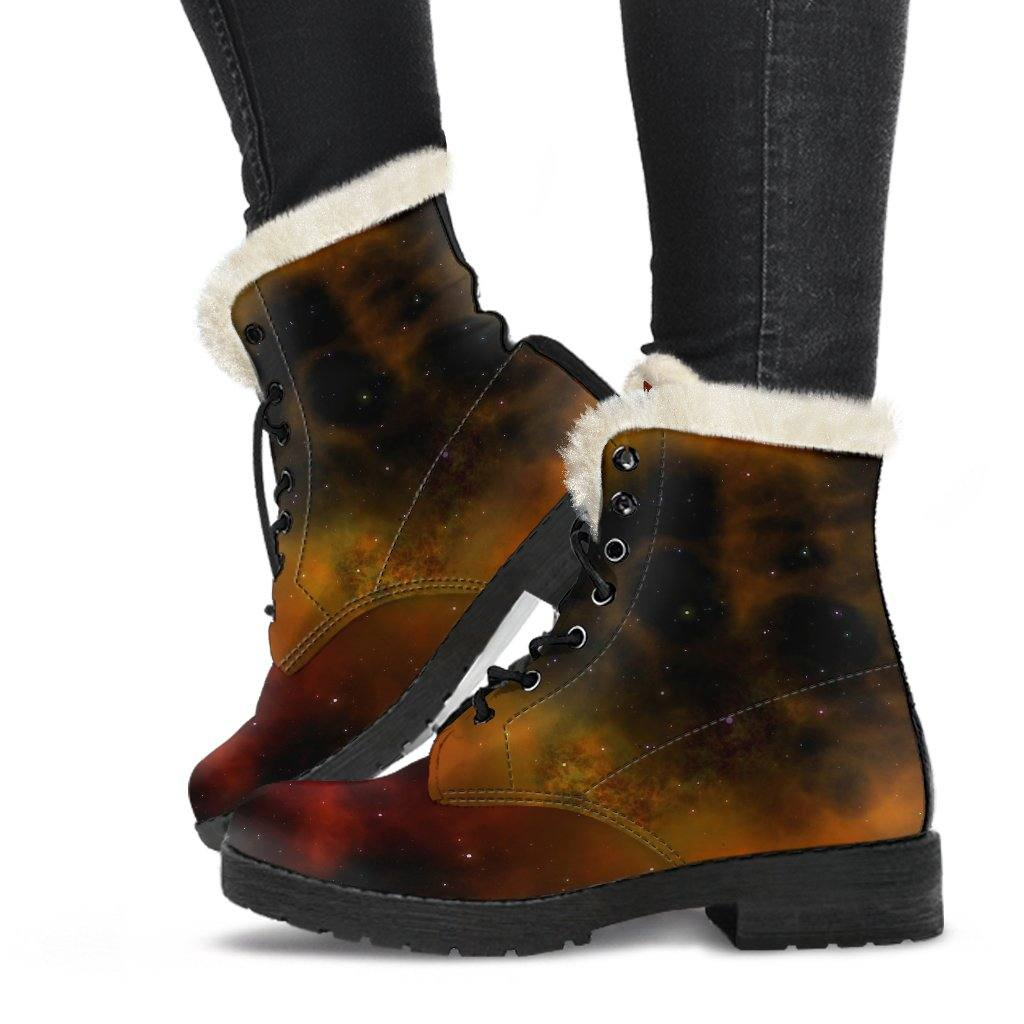 Space Dusk Vegan Leather Boots with Faux Fur Lining