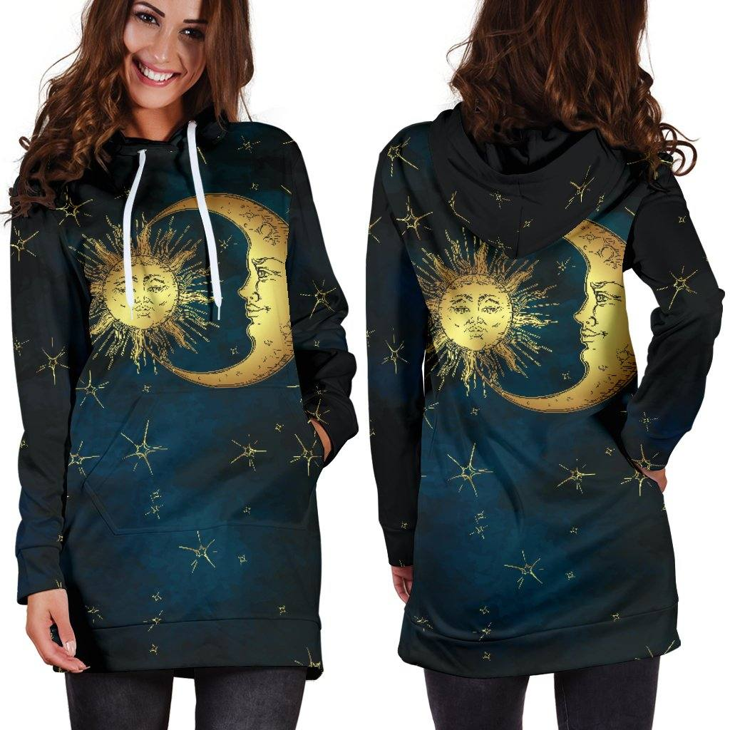 Gold Sun and Moon Hoodie Dress | Longline Hoodie Sweatshirt