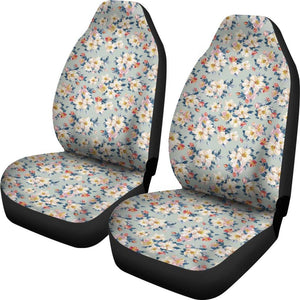 Boho White Flowers Car Seat Covers