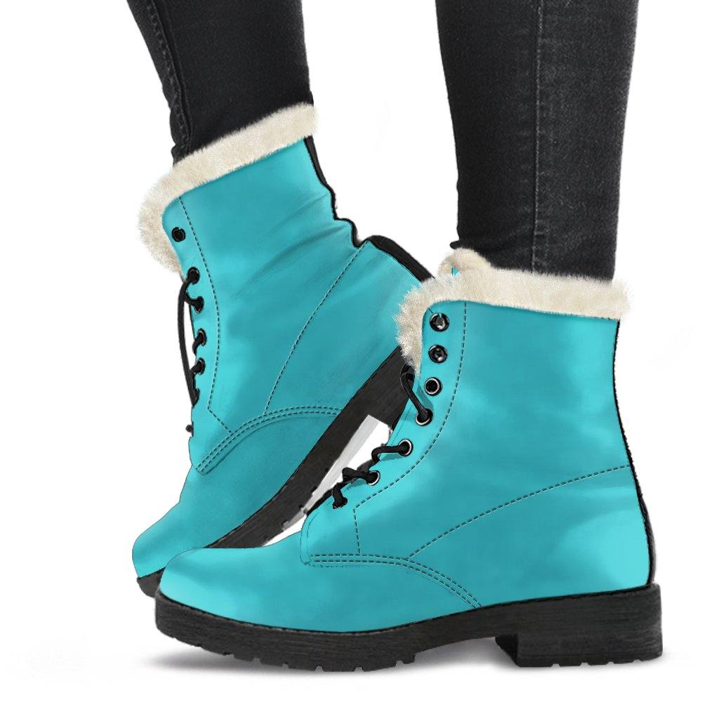 Dark Turquoise Vegan Leather Boots with Faux Fur Lining