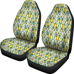 Boho Watercolor Peacock Feather Car Seat Covers