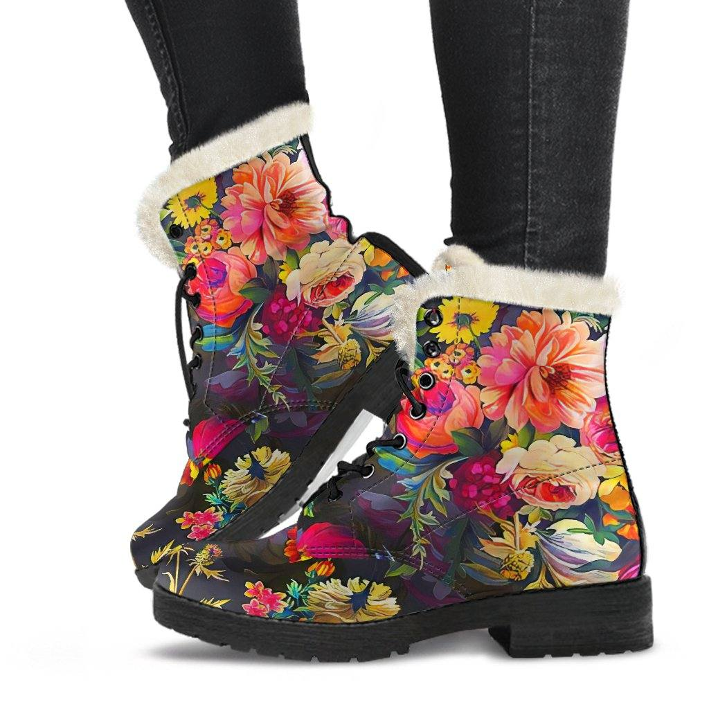 Secret Garden Vegan Leather Boots with Faux Fur Lining