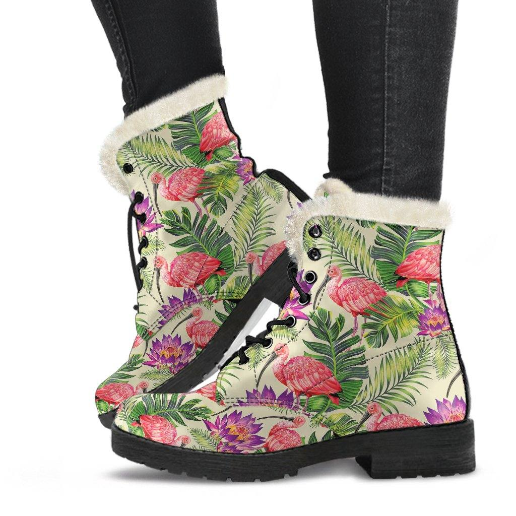 Tropical Zen Vegan Leather Boots with Faux Fur Lining
