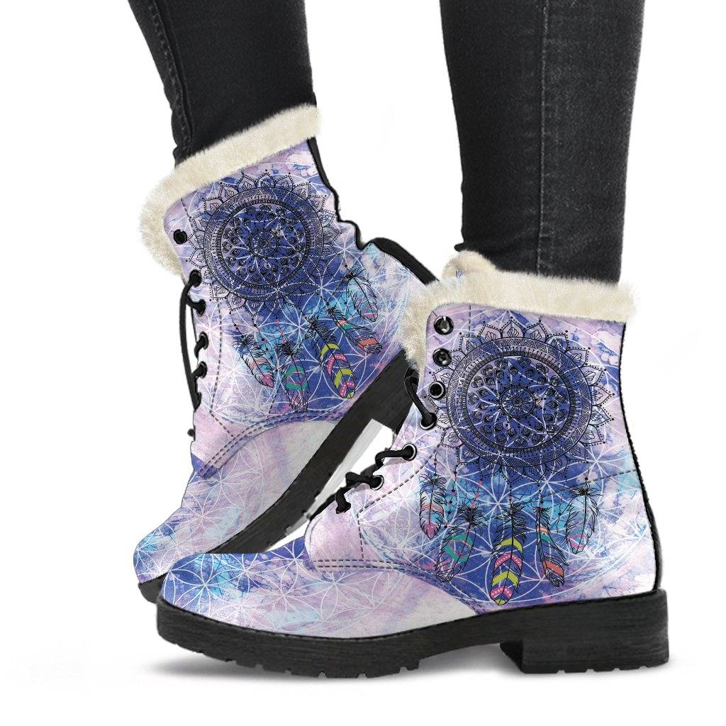 Sacred Geometry Dreamcatcher Vegan Leather Boots with Faux Fur Lining