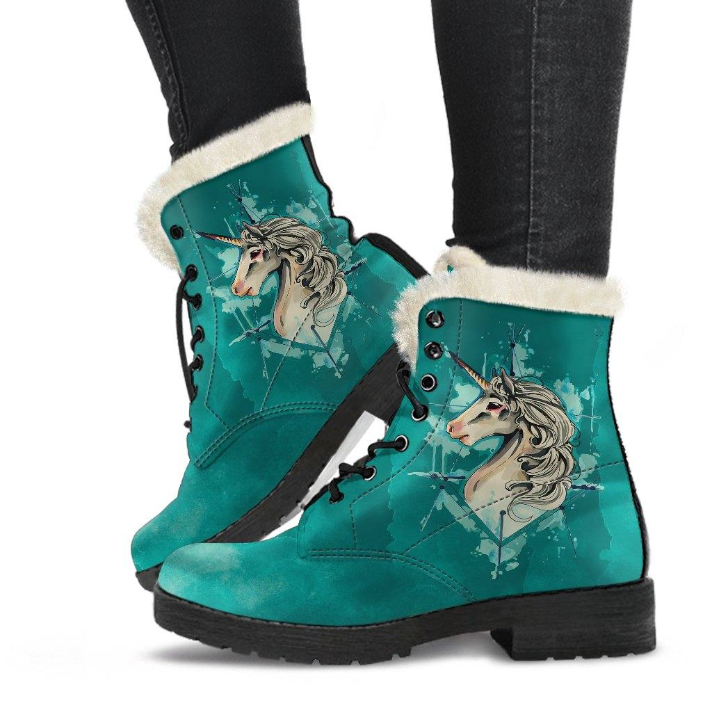 Unicorn Watercolor Vegan Leather Boots with Faux Fur Lining