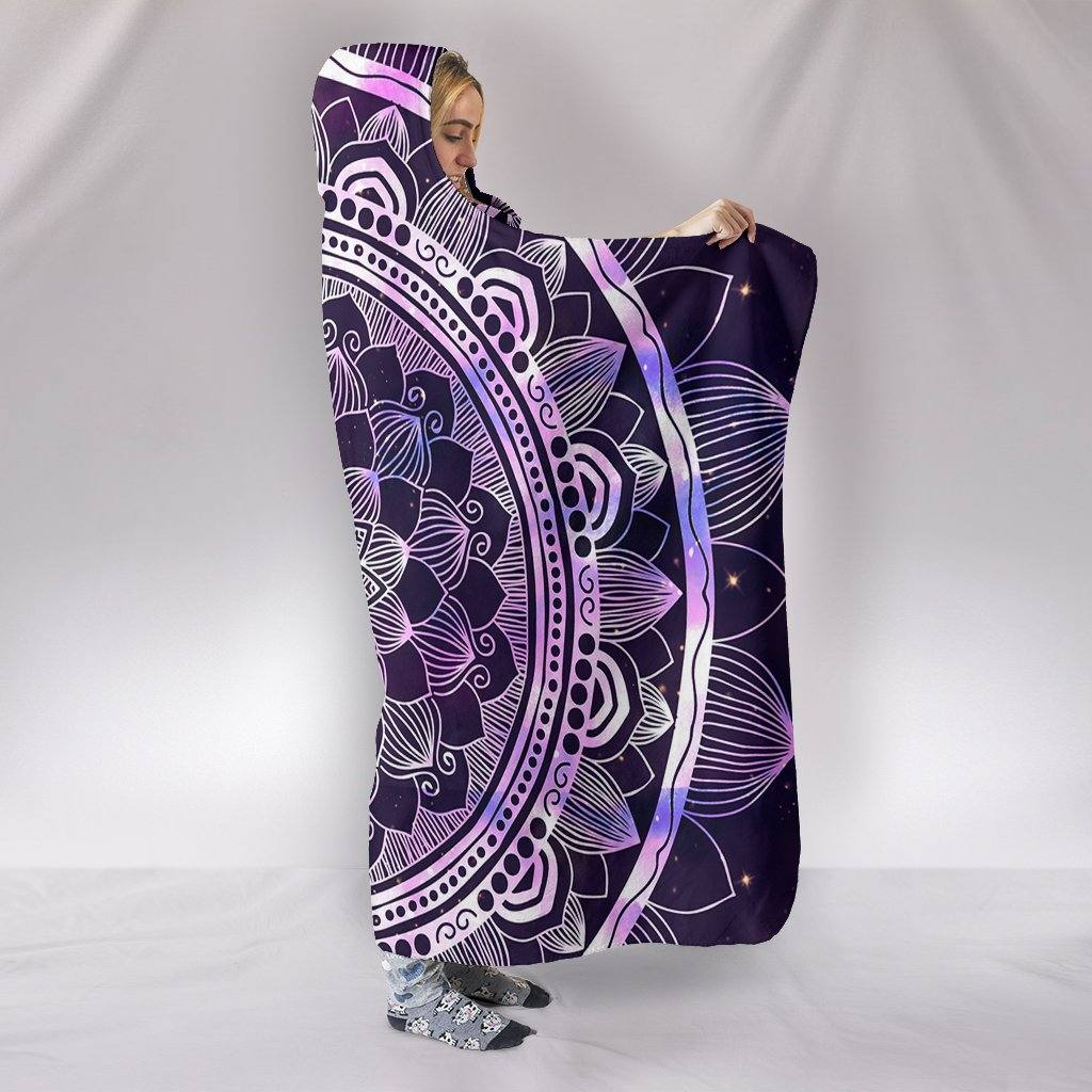 Purple Mandala Hooded Blanket