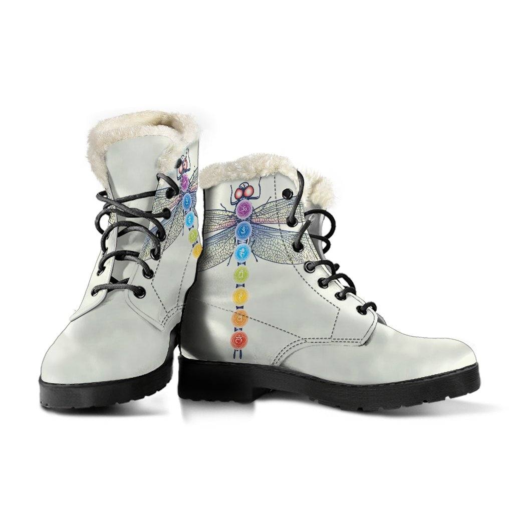 Chakra Dragonfly Light Vegan Leather Boots with Faux Fur Lining