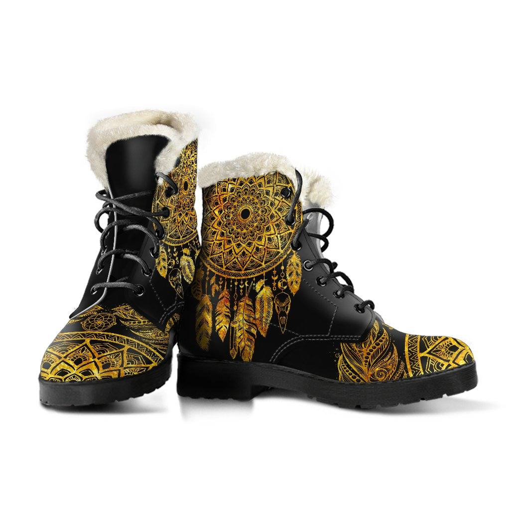 Golden Dream Catcher Vegan Leather Boots with Faux Fur Lining