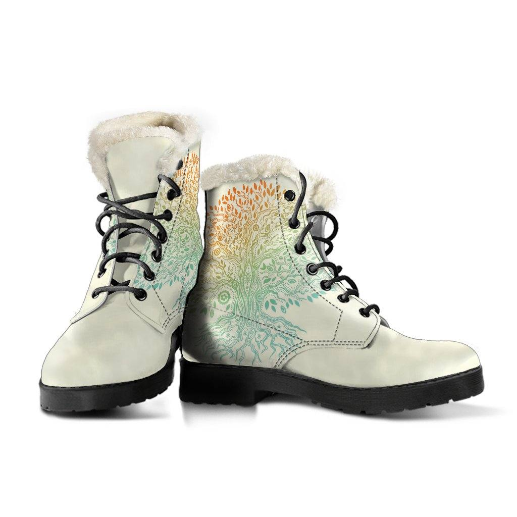Tree of Life Vegan Leather Boots With Faux Fur Lining