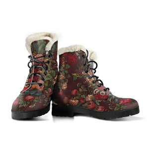 Classic Botanical Vegan Leather Boots with Faux Fur Lining