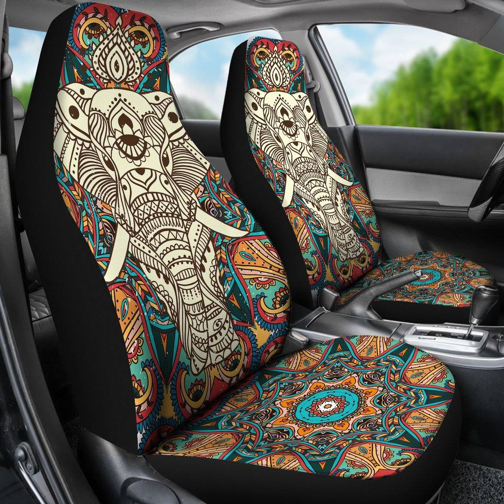 Boho Mandala Elephant Car Seat Covers | Set of 2