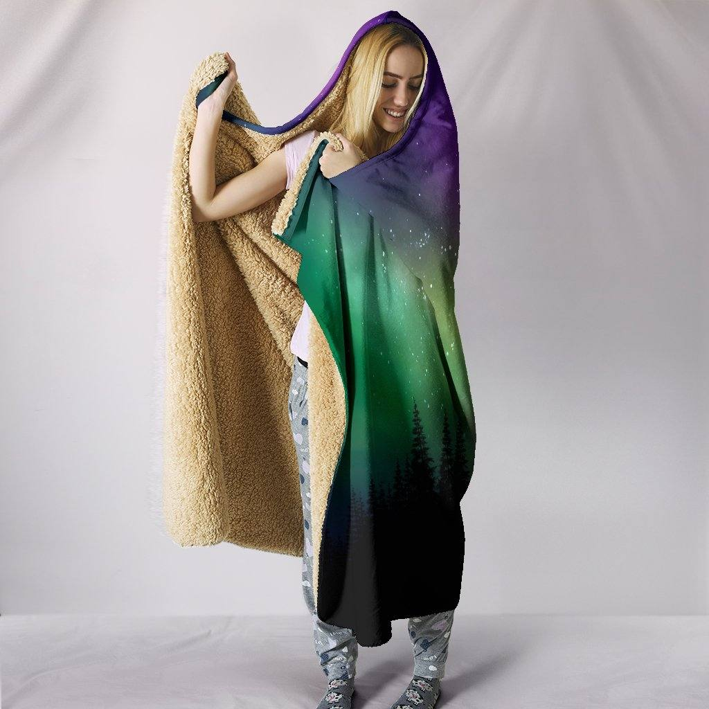 Northern Lights Hooded Blanket | Plush, Premium Sherpa | Kids, Adult | Rainbow