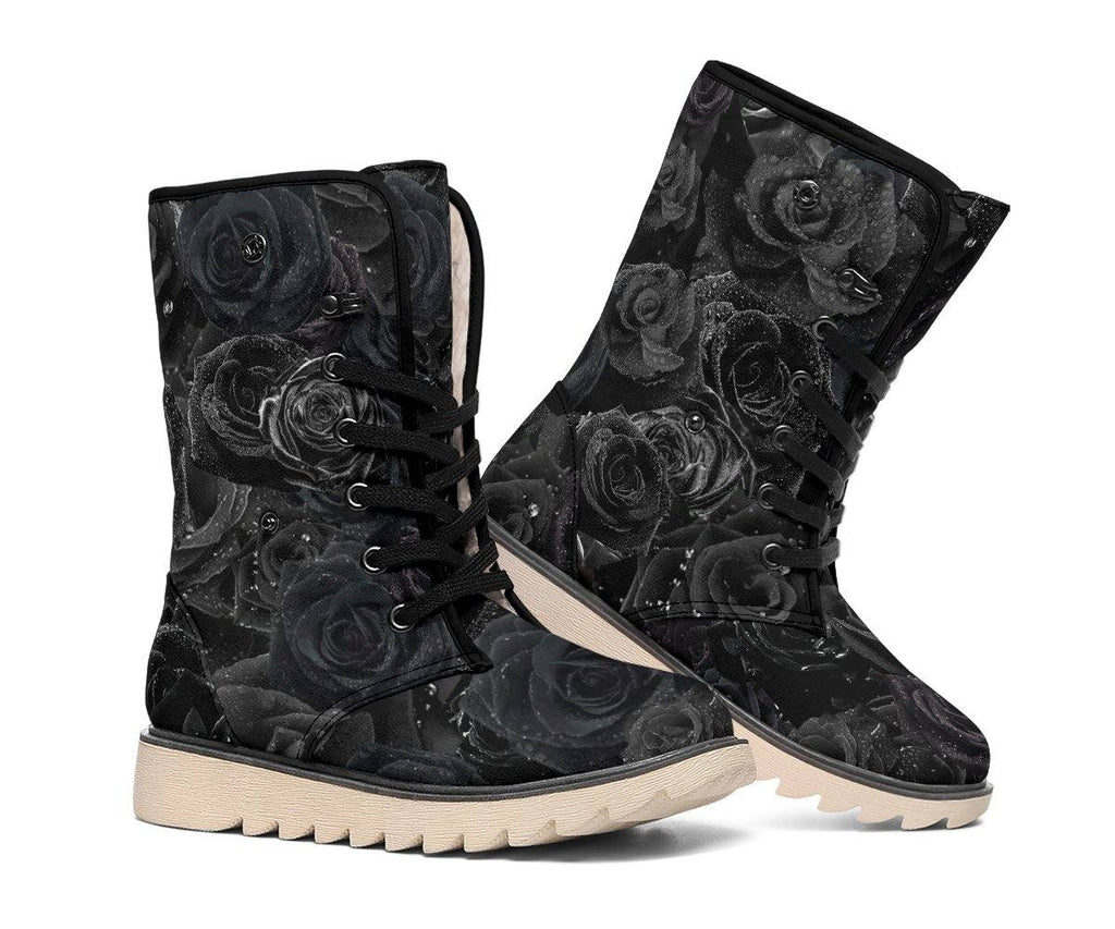 Black Rose Dew Drops Polar Boots with Faux Fur Lining | Winter Boots | Handmade Crafted | Warm, GREAT TRACTION | Ice Snow
