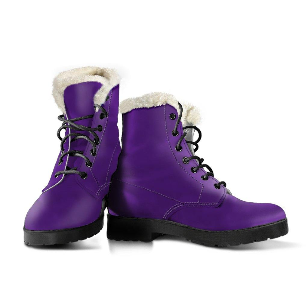 Purple Vegan Leather Boots With Faux Fur Lining - Manifestie