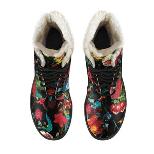 Flower Festival Vegan Leather Boots with Faux Fur Lining