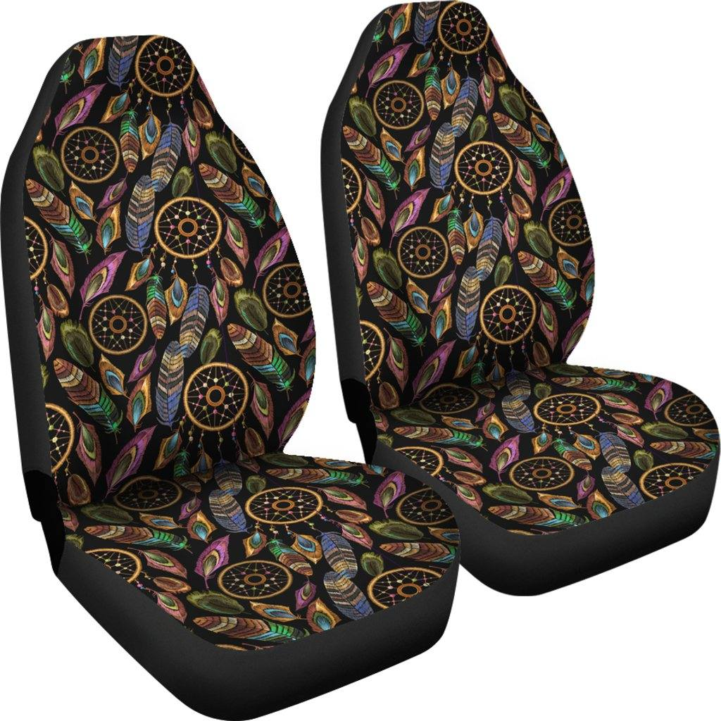 Boho Tribal Dream Catcher Feathers Car Seat Covers | Set of 2