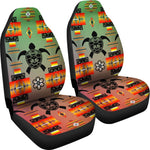 Turtle Green Orange Set of 2 Car Seat Covers