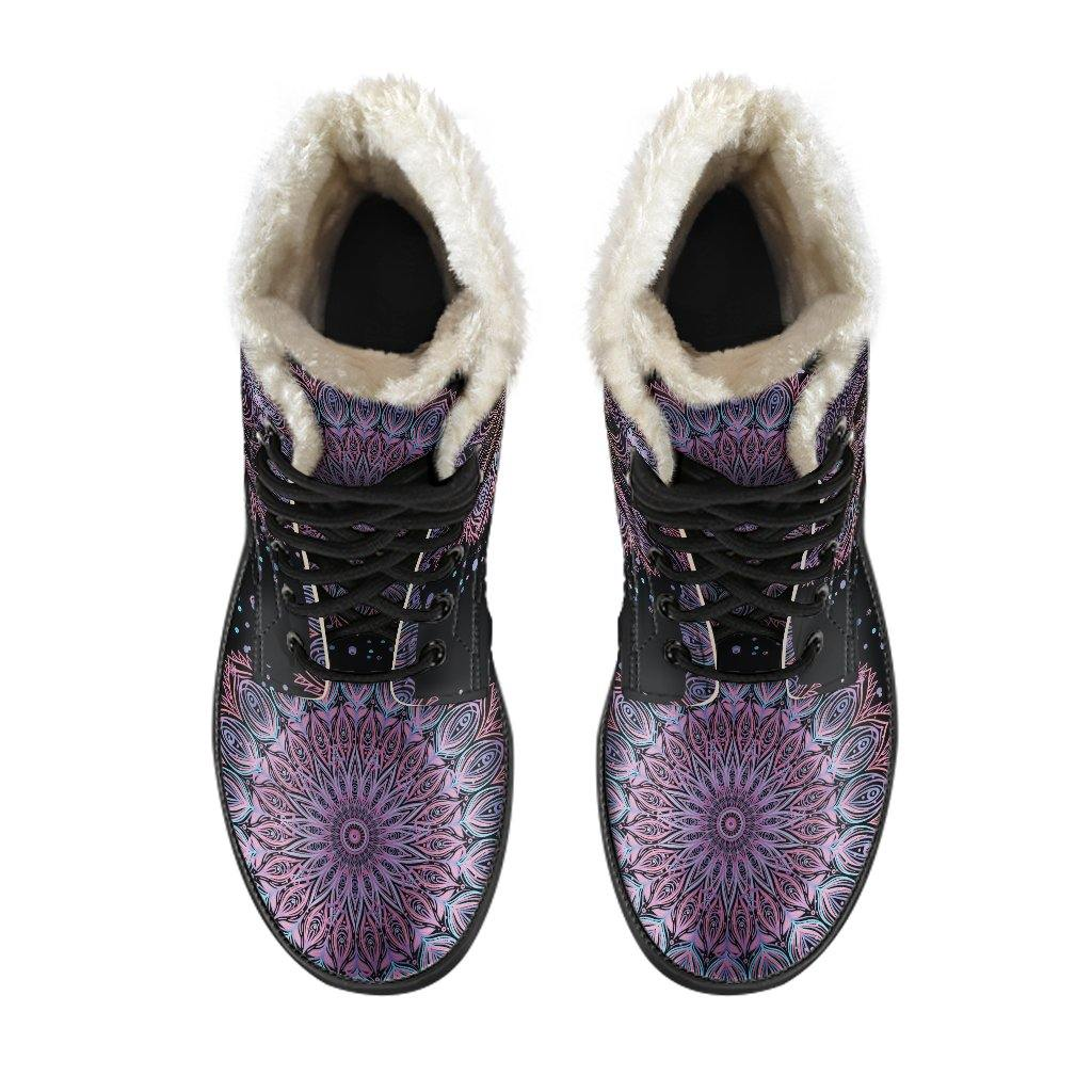 Deep Purple Lotus Vegan Leather Boots With Faux Fur Lining - Manifestie