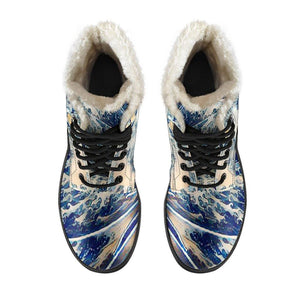 Sea Cat Vegan Leather Boots with Faux Fur Lining
