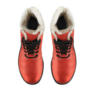 Fiesta Orange Vegan Leather Boots With Faux Fur Lining