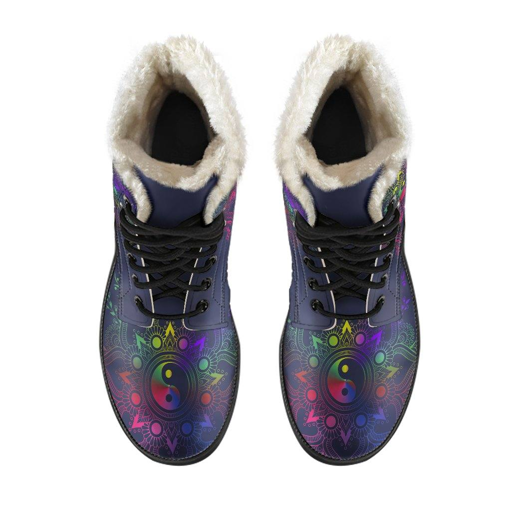 Yin Yang Mandala Vegan Leather Boots with Faux Fur Lining