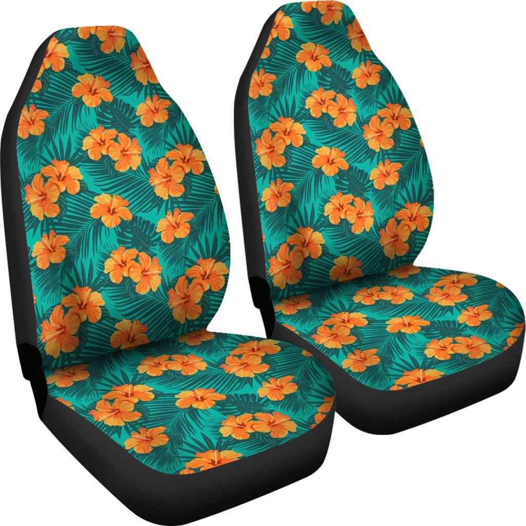 Bright Tropical Orange Flowers Car Seat Covers | Set of 2