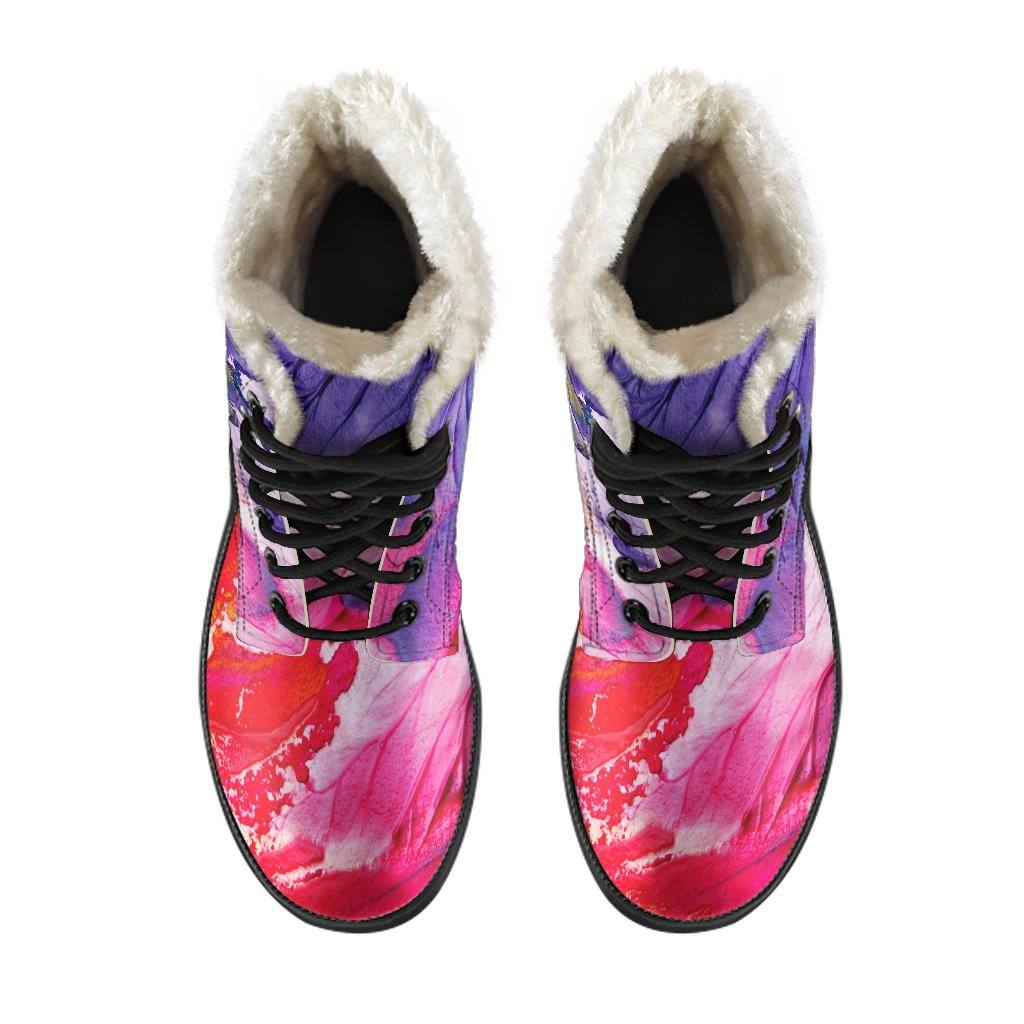Paint Smear Vegan Leather Boots with Faux Fur Lining