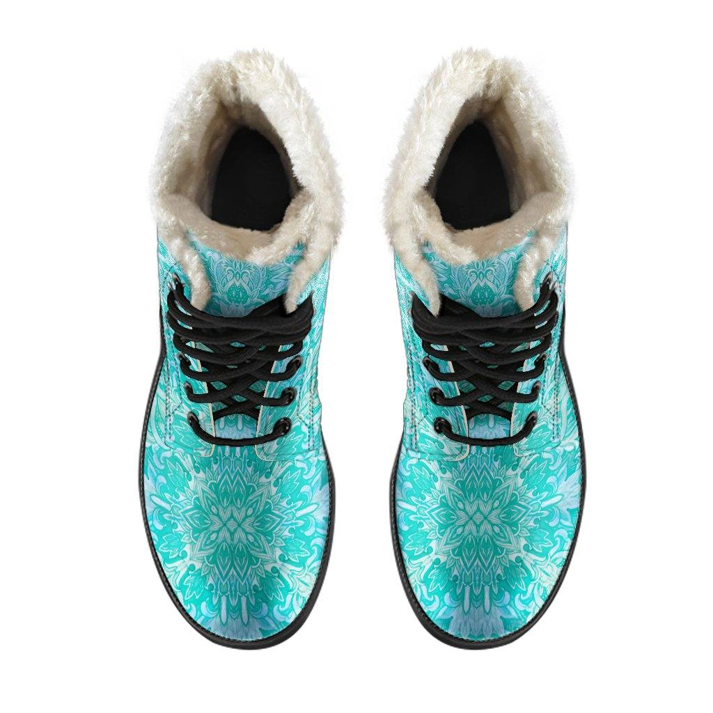 Teal Ice Queen Vegan Leather Boots with Faux Fur Lining