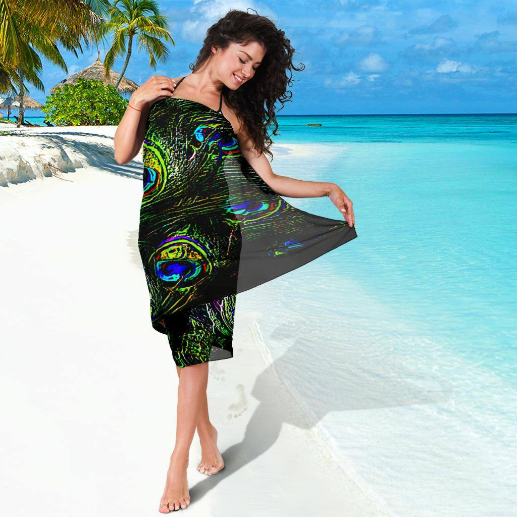 Peacock Feathers Plume Chiffon Beach Cover Up | Sarong | Pareo