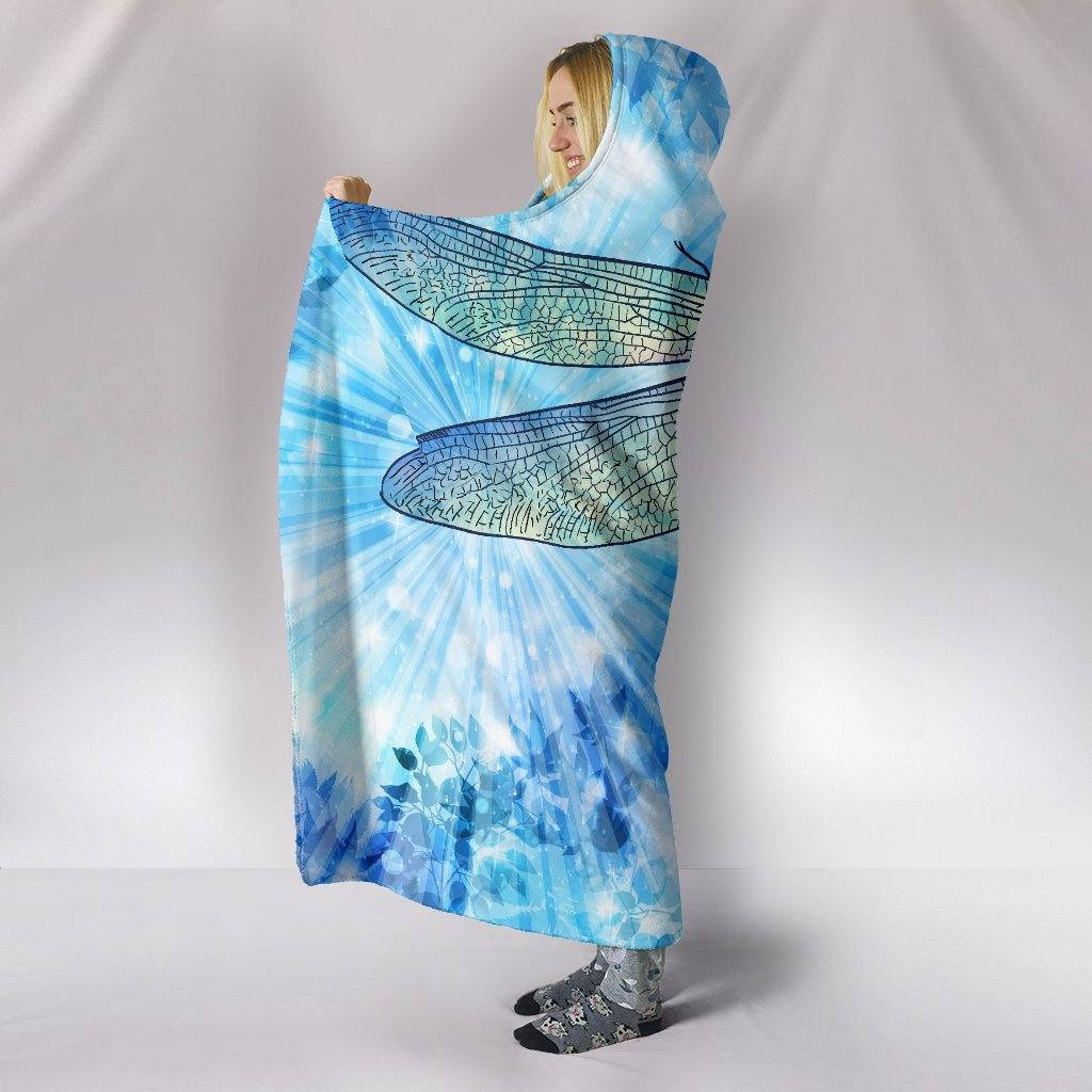 Blue Tie Dye Dragonfly Hooded Blanket | Plush, Premium Sherpa | Kids, Adult