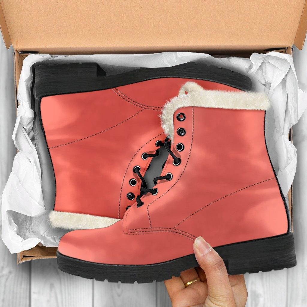 Living Coral Vegan Leather Boots with Faux Fur Lining