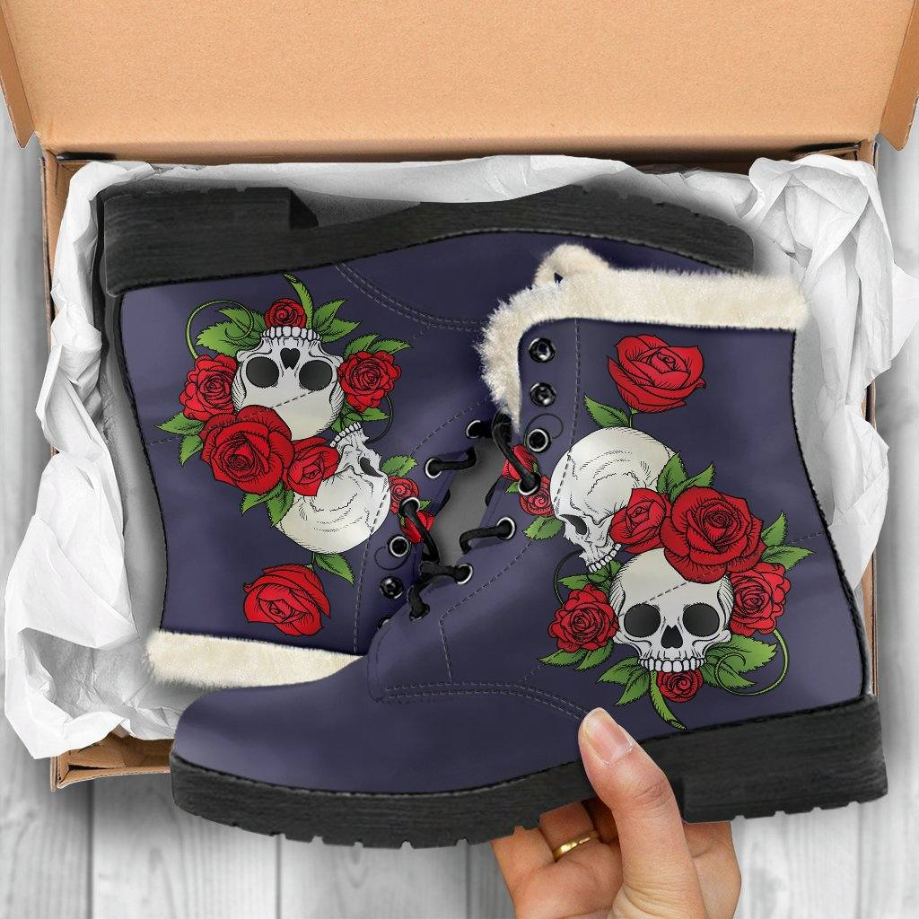 Skull Couple Roses (Eclipse) Vegan Leather Boots with Faux Fur Lining
