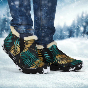Gold & Teal Leaves Winter Boots - Manifestie
