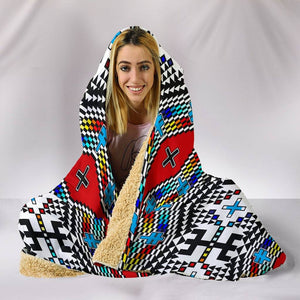 Geometric Rainbow Hooded Blanket