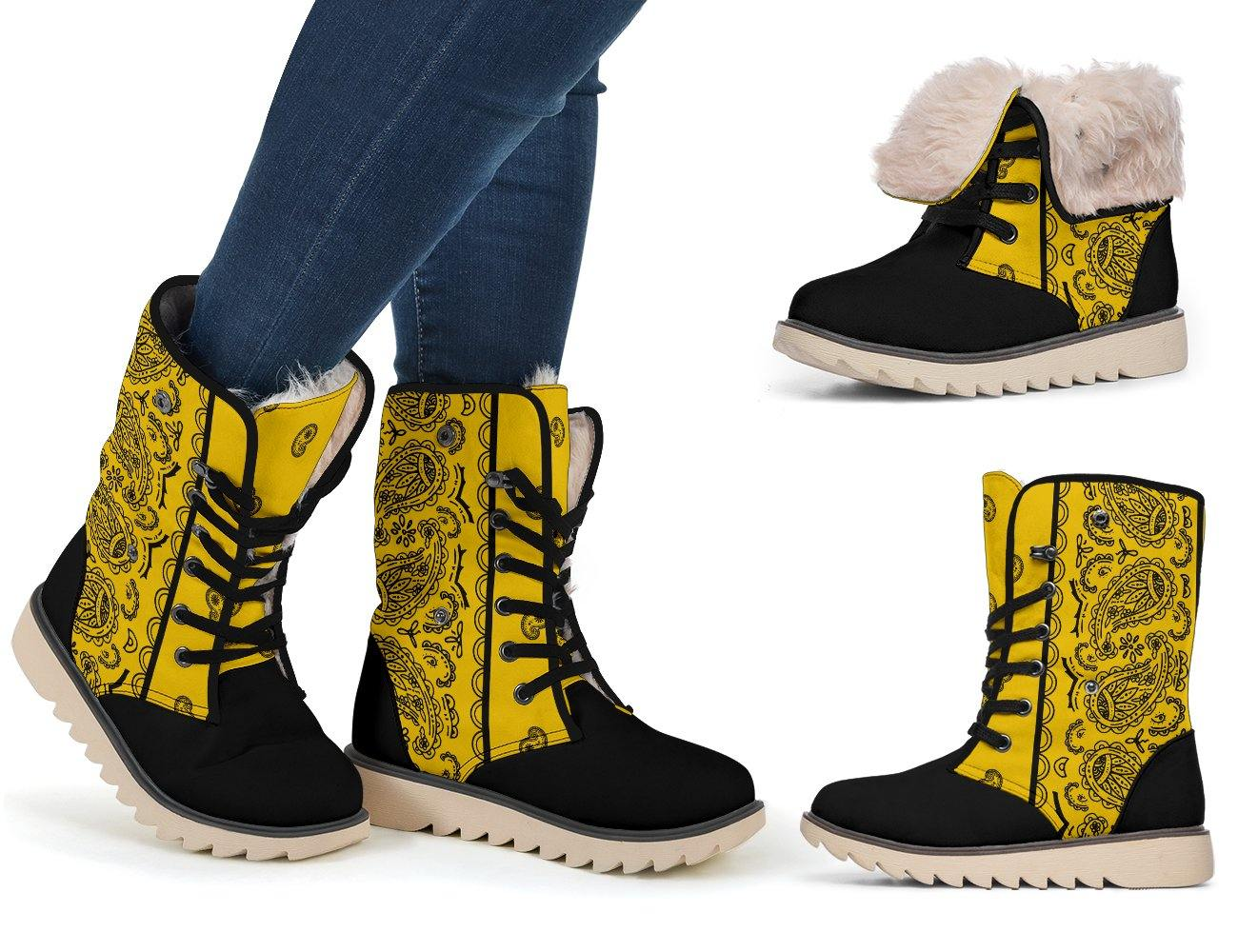 Gold and Black Bandana Women's Polar Boots