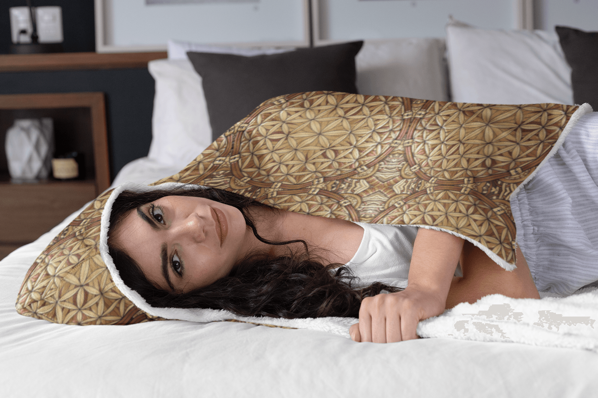 GOLDEN FLOWER OF LIFE PREMIUM HOODED BLANKET with Wrist Straps