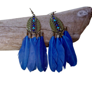 Feather Drop Earrings | Long Dangle | Blue